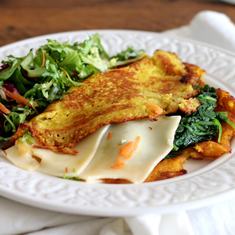 Omelete de queijo e Espinafres